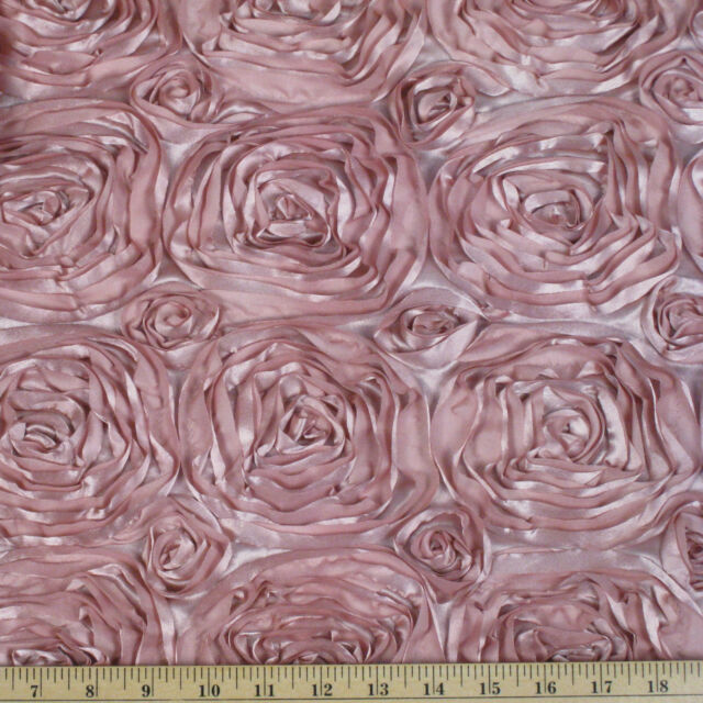 "10 Grandiose 3D Large Rose 72""x72"" Rosette Satin Overlays Tablecloth Table Cover"