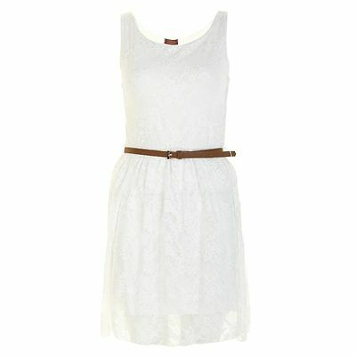 WOMEN LACE SHIFT SKATER BELTED SLEEVELESS DRESS TOP SIZE 8-14
