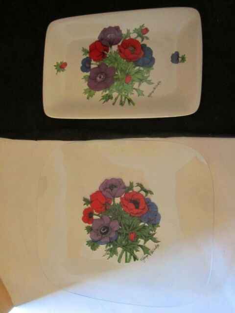 2 GEORGES BRIARD ANEMONE SERVING PLATTERS VEGETABLE PLATES FLOWERS CLEAR & WHITE