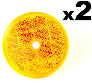 2x-E-Approved-Round-Circular-Reflectors-Amber-60mm-Van-Caravan-Trailer