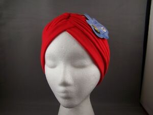 Red-hair-wrap-Turban-twist-pleated-womens-ladies-head-cap-cover