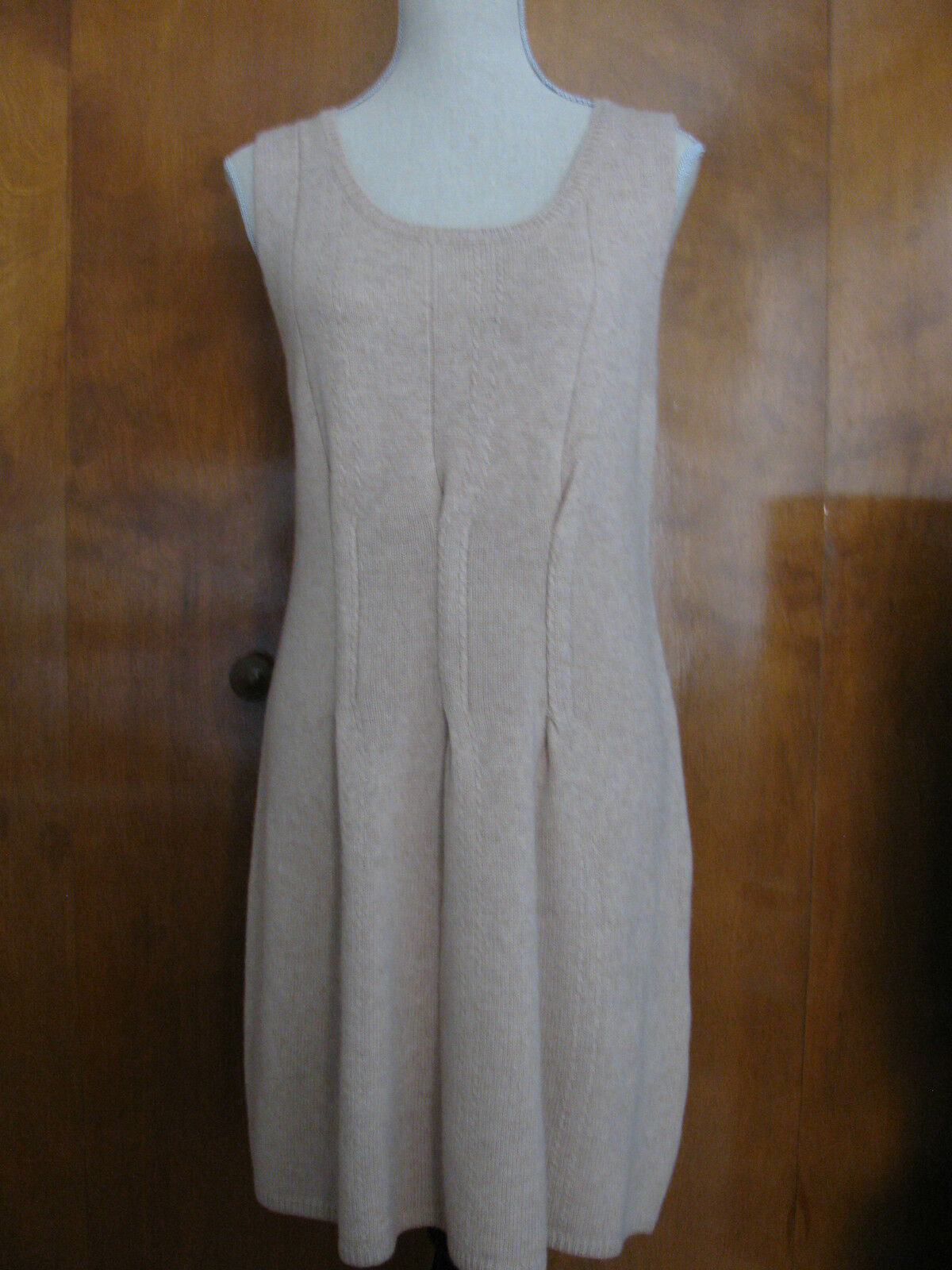 Sutton Studio women's ivory wool cashmere detailed sleeveless dress Large