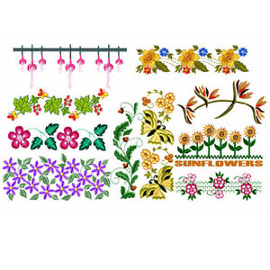 Abc Designs Sunny Summer Borders 10 Machine Embroidery Designs 5 X7
