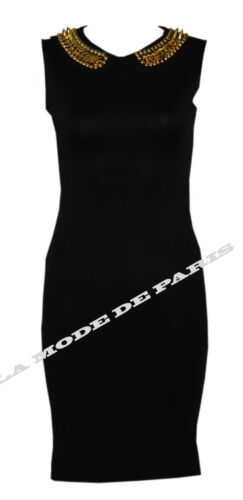 N30 NEW WOMENS LADIES BODYCON PETER PAN COLLAR STUDDED SUBA PARTY DRESS IN 08-14