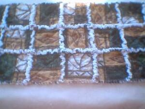Fabric Rag quilt table runner bear mountain patchwork print
