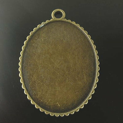 Antiqued Brozne Tone Alloy Lace Tray Cameo Setting Charm 41*32mm 10pcs 07555