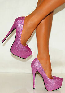 womens purple pink glitter sparkly court party high heels