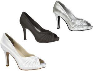 NEW-Erika-Bridal-Prom-Platform-Shoes-Black-White-Silver-Open-Peep-Toe-Pumps