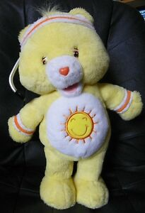 "2004 CARE BEARS Yellow FUNSHINE Bear Sun WORK OUT Fitness 15"" Talking Singing"