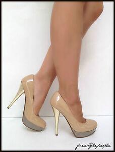 NIB New GUESS Nude Gold Natural BRAYAN Patent Platform Pumps Shoes ...