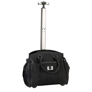 The-Compact-15-4-034-Laptop-Computer-Lady-Roller-Bag-on-Wheels-Black