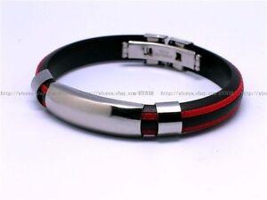 Mens-Stainless-Steel-Bracelet-Rubber-Bangles-Black-Silver-Red-Greek-Key-SR009R