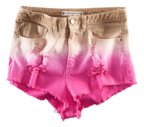 H&M FASHION AGAINST AIDS DIP DYE OMBRE PINK HIGH WAISTED DENIM SHORTS highwaist