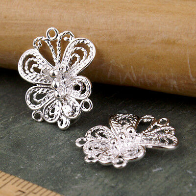 Sterling Silver Plated Brass Butterfly Filigree Earing Connector be03s(2pcs)