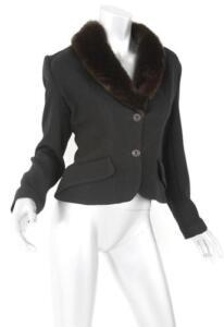 HENRI BENDEL Black Wool Brown-Faux-Fur-Collar Blazer Jacket Short Coat S NEW