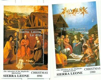 NATALE - CHRISTMAS SIERRA LEONE 1990 Bronzino & David blocks