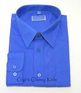 New-Boys-Royal-Blue-Long-Sleeve-Dress-Shirt-Size-16-Wedding-Holiday-Graduation
