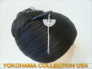 Japanese-Silver-tone-Kanzashi-With-034-Sensu-034-Fan-Dangle-Design-Hair-Stick-Ornament