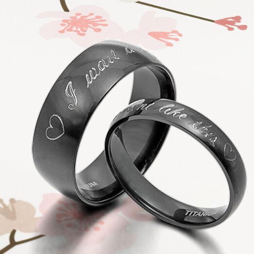 US Black Anywords Groom&Bride Matching Wedding Engagement Titanium 2 Rings Set