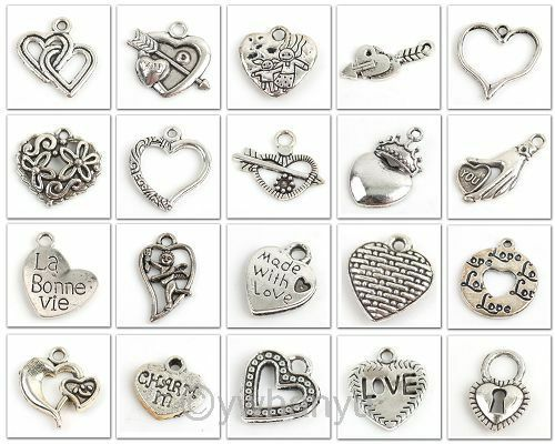 20pcs Mix Lots Heart Shape Tibetan silver Charms Pendants Fit Necklace 141376