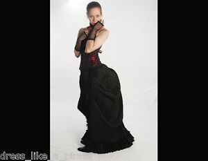 STEAMPUNK-GOTH-NEOVICTORIAN-PLEATED-TAFFETA-MOIRE-FAUX-HOBBLE-BUSTLE-SKIRT