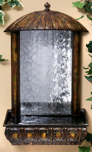 Wall Mounted Water Feature Fountain Mirror Cascade Waterfall Traditional Design