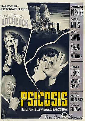 PSYCHO Movie Poster 1960 Alfred Hitchcock Horror RARE Print