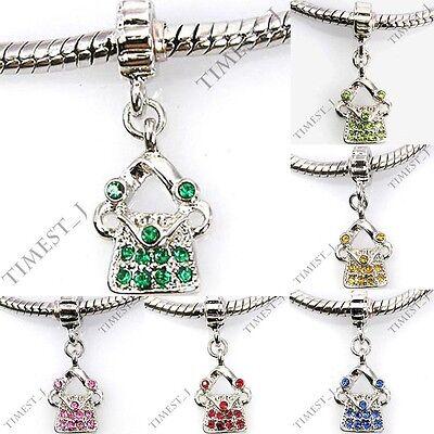 Wholesale Lot 6pcs Silver CZ Purse Handbag European Charm Beads For Bracelet