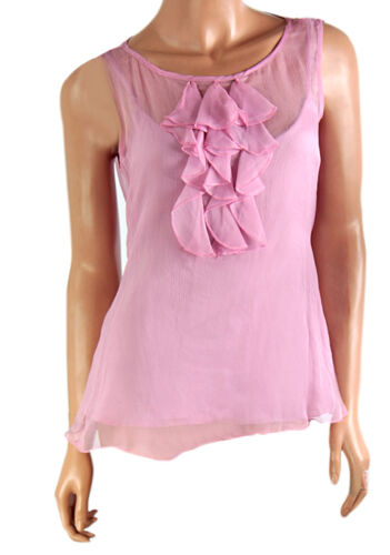 Pink /& Cream Laura Ashley Pure Silk Ruffled Front 2-piece Keyhole Tie Back Top
