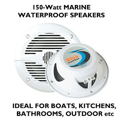 "Marine 13cm 5"" 150W White waterproof Speakers boats, bathrooms kitchens ceilings"