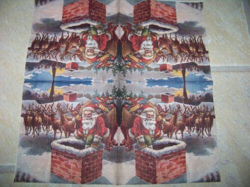 Schneeman bei Nacht 4 lose Servietten Weihnachten Weihnachtsmann am Kamin