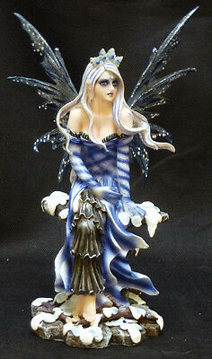 SNOW FAIRY QUEEN  Sitting on Stone   Statue Figurine H8.25""