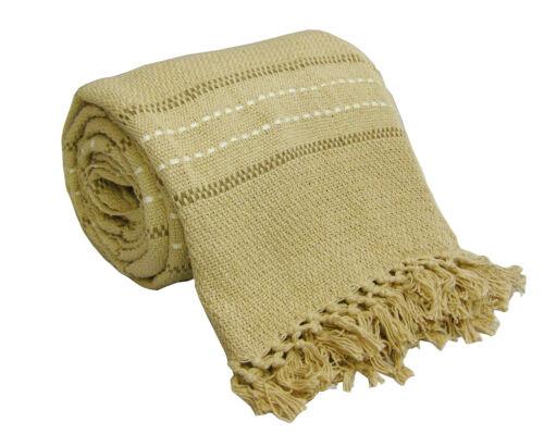 Luxury Stitch Stripe 100% Cotton Sofa / Bed Throw 6 Colours & 3 Sizes