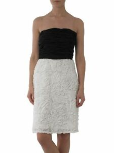 JS-Boutique-RRP-150-Black-White-Ruffle-Strapless-Cocktail-Party-Prom-Dress-14-16