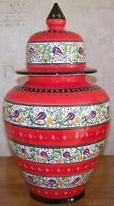 Red-13-33cm-High-Handmade-Turkish-Tulip-Iznik-Ceramic-Jar-Urn-Canister