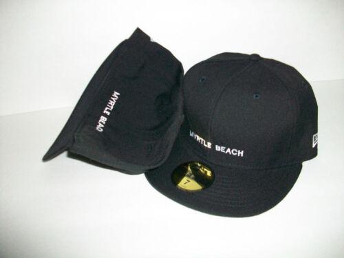 NEW ERA HAT CAP FITTED MYRTLE BEACH BLACK WHITE SIZE 7 H26