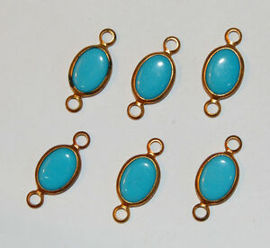 VINTAGE-GLASS-CONNECTOR-BEAD-TURQUOISE-BLUE-BRASS