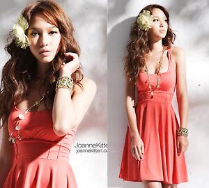 HOT-Womens-BOHO-Sexy-Low-Neck-Sexy-Orange-Knee-Length-Dresses-1116