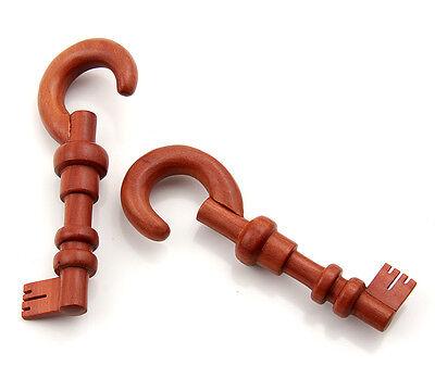 Pair Organic Sawo Wood Skeleton Key Design Ear Hanging Hook plugs Gauges