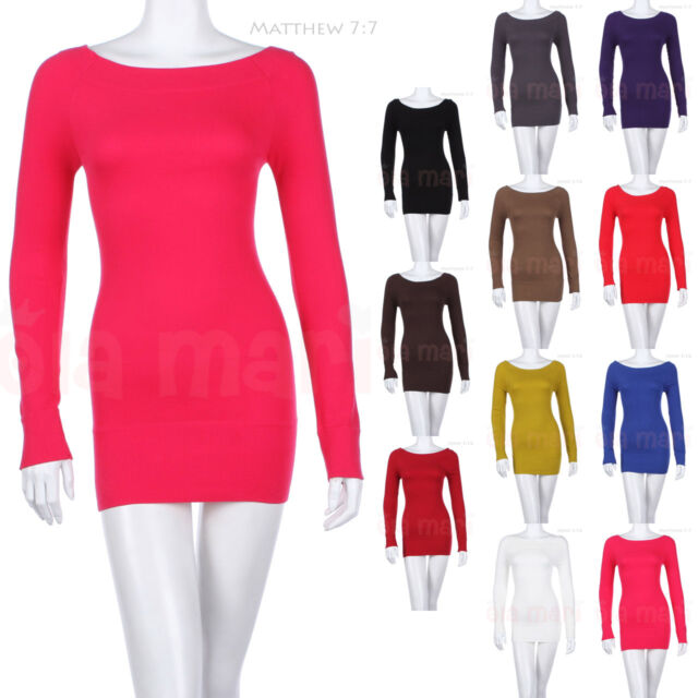 Sexy Seamless Solid Long Sleeve Wide Boat Neck Cotton Tunic Top Stretch Spandex