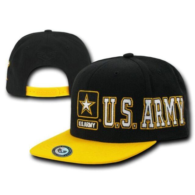 Black United States US Army Star Retro Flat Bill Snap Baseball Cap Hat Caps Hats