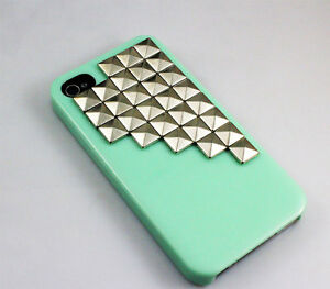 Light-Green-Hard-Case-Cover-With-Silvery-Stud-For-Apple-Iphone-4-iPhone-4s-case
