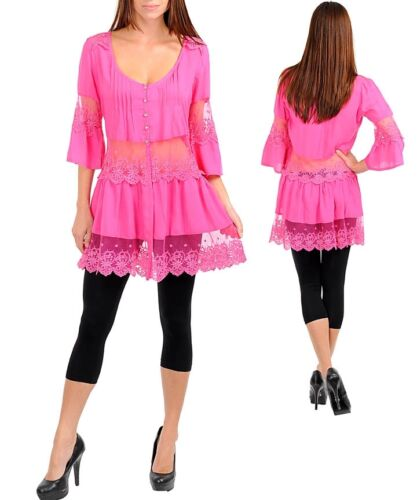 N6870 Medium CHOOSE a COLOR Black,Royal Blue or Pink Blouse//Tunic,Lace,Crystal