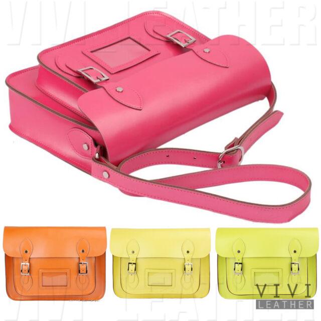 REAL LEATHER Satchel Neon Fluro Vintage Cross Body Handbag Messenger School Bag