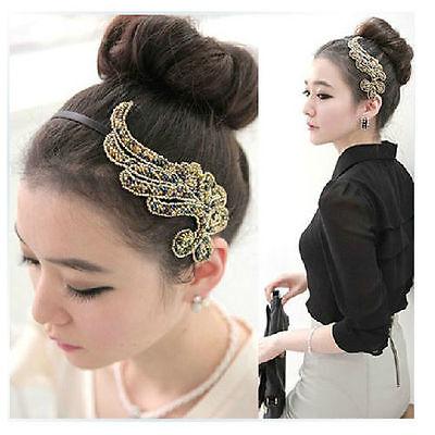 Fashion Trendy Bling Angel Wing Headband Hair Band for Women