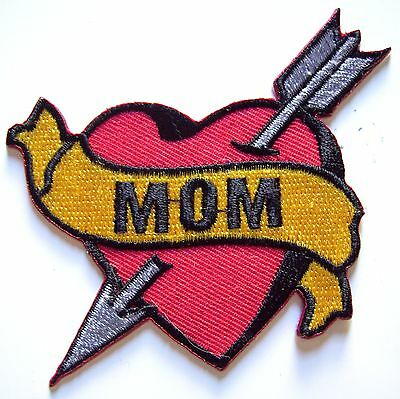 MOM Heart iron on patch tattoo Sailor Jerry rockabilly punk applique - 17