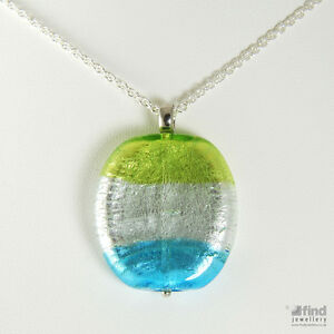 Ladies-Womens-Green-Silver-amp-Blue-Murano-Glass-Pendant-amp-Chain-Necklace-RRP-49