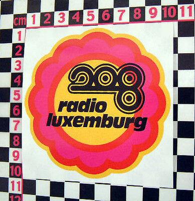 1960's Radio Luxembourg Classic Car Flower Power Sticker - VW Beetle Van Camper