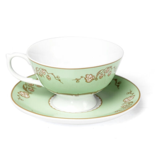 dotcomgiftshop GREEN REGENCY STYLE TEACUP AND SAUCER