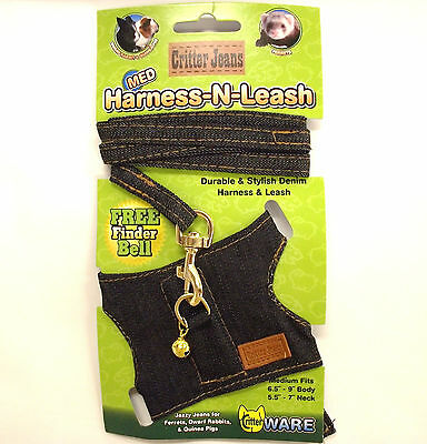 HARNESS-N-LEASH PET HARNESS OUTFIT LEASH FOR RABBIT FERRET CHINCHILLA GUINEA PIG